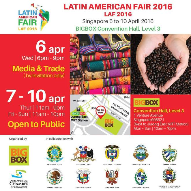 laf2015, LATIN AMERICA FAIR, bigbox, jurong east, chile, mexico, brazil, colombia, venezuela, puerto rico
