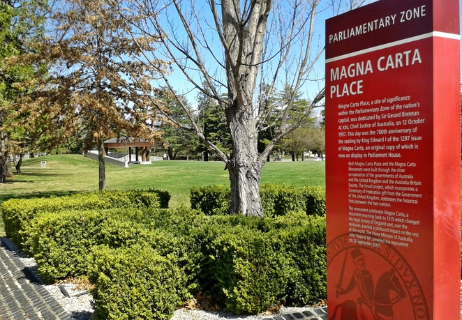 magna carta place, magna carta monument, canberra, ACT, parliamentary triangle, tourist,
