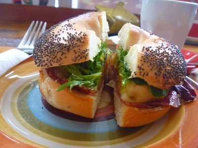 Pumpkin and Salami Bagel at The Little Fig