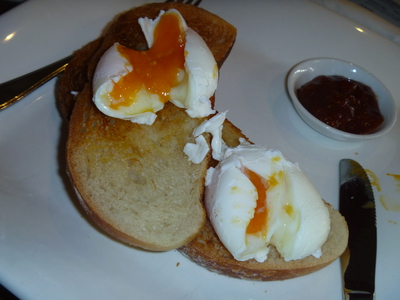 Poached eggs on Vienna toast at Salvete Salamanca Square Hobart