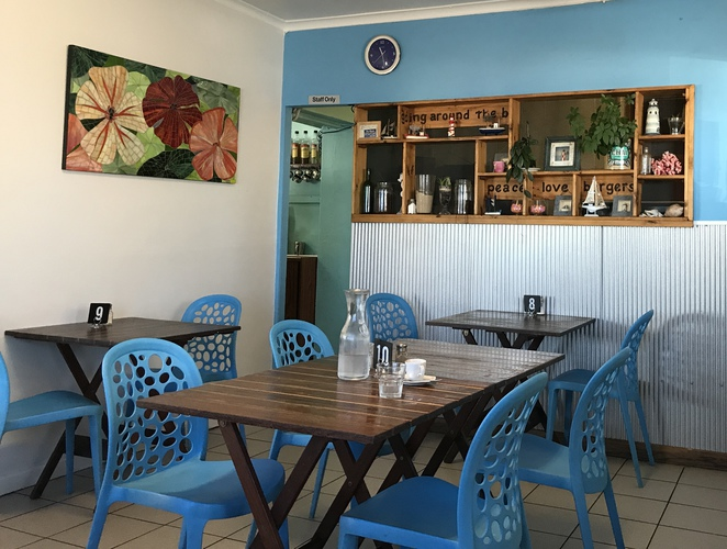Ripple and Swirl Cafe Chrisites Beach Inside Decor Peace Love and Burgers
