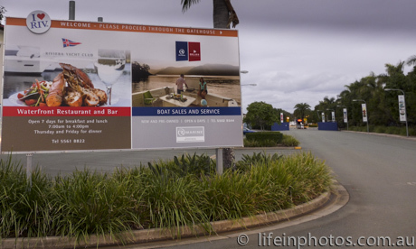 Riviera Yacht Club, waterside dining, Coomera River, Entry to Riviera Yacht Club