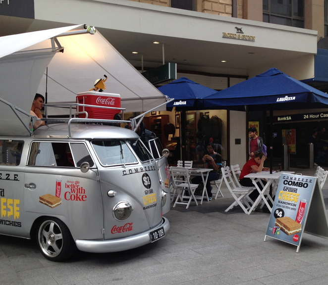 rundle mall, food, grilled cheese sandwich, sandwich, coke, coffee, adelaide fast food