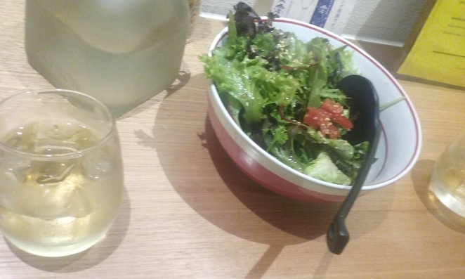 Salad and Rice Wine @ Ikkoryu Fukuoaka Ramen on Russell