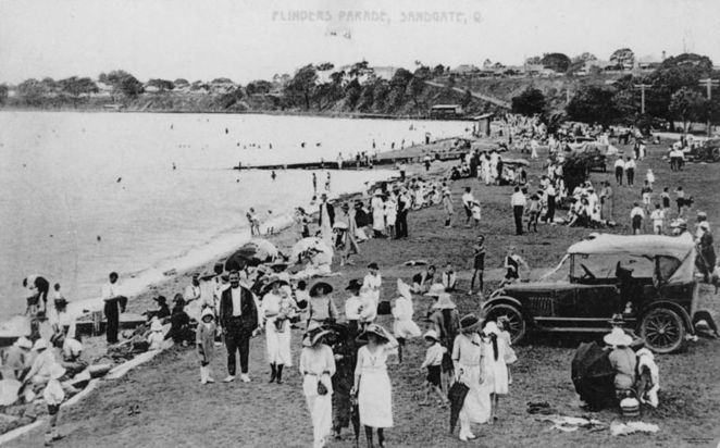 Sandgate ca.1920-1930 has long been a popular destination for Brisbanites (Attribution: Wikicommons - John Oxley Library)