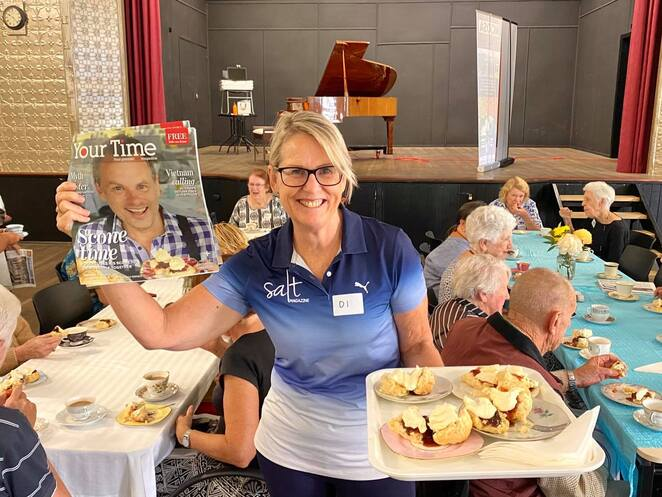 Scone Time Buderim, local communities, Sunshine Coast Foodie, Martin Duncan, every month, various venues, isolation for elderly worldwide issue, heritage community halls, Cooroy Memorail Hall, Montviille Village Hall, Bankfoot House, Glass House Mountains, Caloundra, Nambour Tram Terminus, historical old buildings, good ol' chinwag, Buderim War Memorial Hall, Buderim Ginger, The Ginger Factory, 4556 Chamber of Commerce, Aimee Provence, Strawberry Fields, Montville Coffee, Free Ranging Chef, low cost, company sponsorships, ongoing success, ONLY $8, Sunshine Coast Council, carers, companions, family, freshly baked homemade scones, fresh cream, scrumptious jam