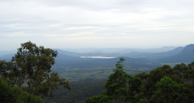 The view of Fassifern Valley and Lake Moogerah from the Rainforest Circuit Lookout