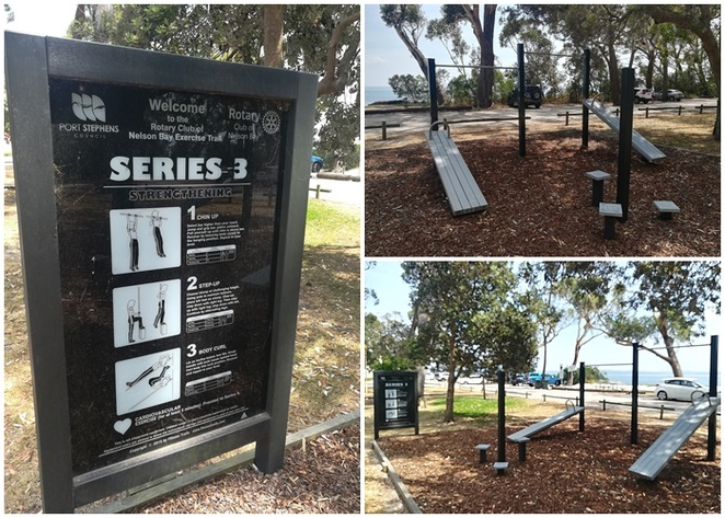 The Exercise Trail built by the Rotary Club on Nelson Bay, bagnalls beach, outdoor, gyms, exercise, walks, beach, fitness, fitness stations, healthy, gyms,
