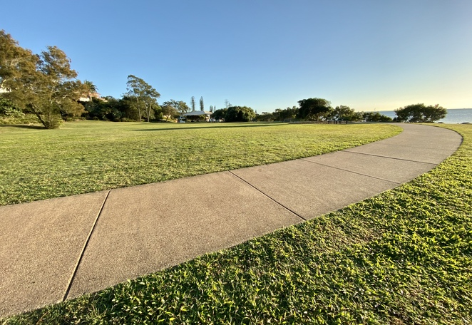 Looking back across the parklands and exercise area
