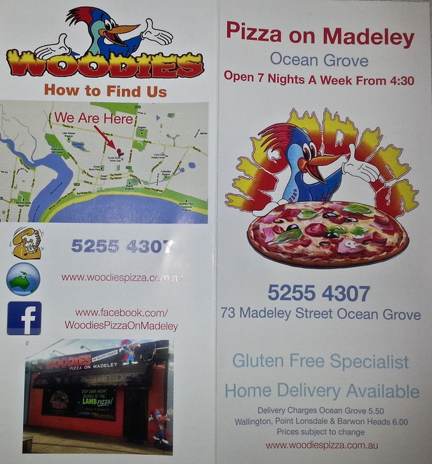 Woodies pizza on madeley, Ocean Grove, Bellarine, Victoria