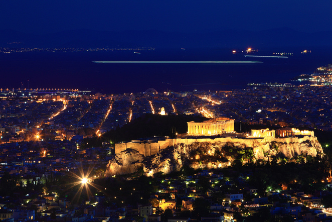 Acropolis at night. Sense the spirit of Greek Gods in Athens Greece. The Parthenon
