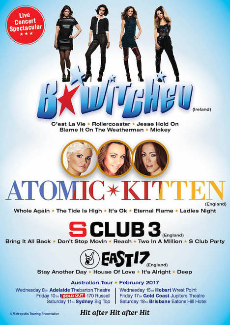 atomic kitten bwitched s club australian tour 2017