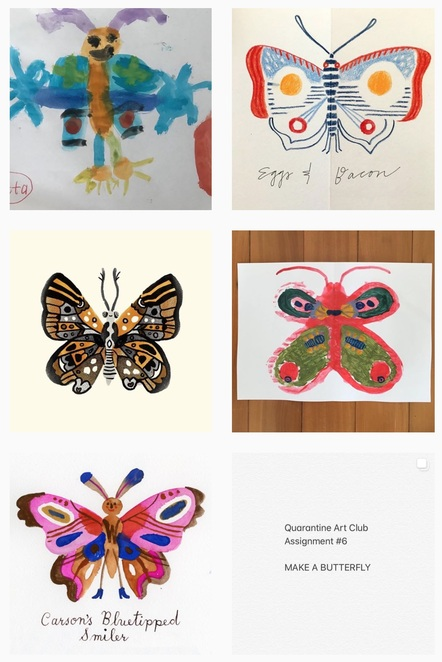 you don't need talent! Just pride in working hard and making something you like! @carsonellis 's Instagram feed of quarantine art club butterflies
