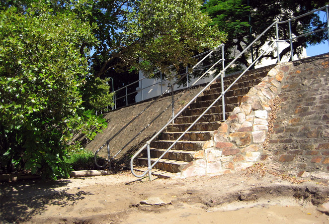 Stairs leading down to the beach at Captain Burke Park