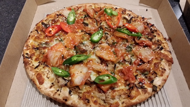 Crust Gourmet Pizza Bar, Kimchi BBQ Pulled Chicken Pizza, Adelaide