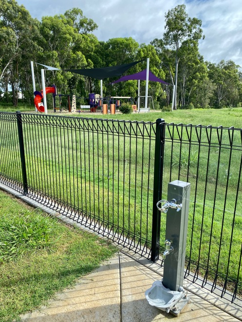 Drinking water is available at the playground and dog park