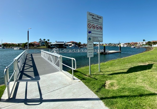 This kayak and canoe pontoon on one of Raby Bay's canals can be used to access Moreton Bay at high or low tide