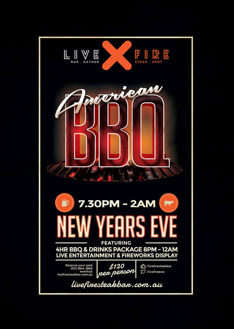 Live Fire, Southbank, NYE ideas, Fireworks, American BBQ, NYE Southbank, New Years Eve in Brisbane, Whats on in Brisbane, G20 Brisbane, New Years Eve Events, Bar and Steakhouse, Southbank craft beer, Streets Beach