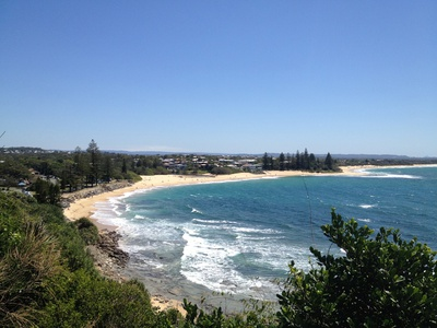 Looking out over beautiful Moffat Beach from the headland