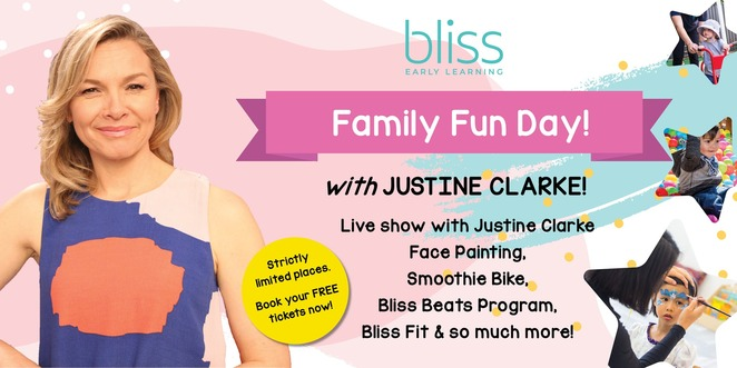 meet justine clarke, bliss sandringham's family fun day 2019, community event, fun things to do, tickets by eventbrite, sandringham, child care centre sandringham, educators, showcasing free programs, fre entertainment, free event, family friendly, face painting, music programs, fitness programs, live performances, smoothie bike experience, pedal powered smoothies, singalong, bliss beats music program, practgice yoga, bliss fit program, q&a session, early childhood teacher, meet the child care team, limited tickets