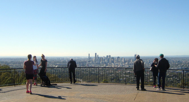 Enjoying the view from the Mt Coot-tha Lookout
