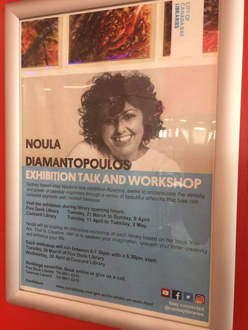 Noula Diamantopoulos,creative self help books,fivedocklibrary,authortalkssydney,workshopssydney,artworkshops,encausticpaintings