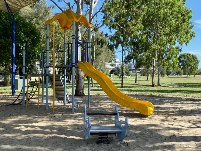 Traditional playground equipment at Raby Bay Esplanade Park