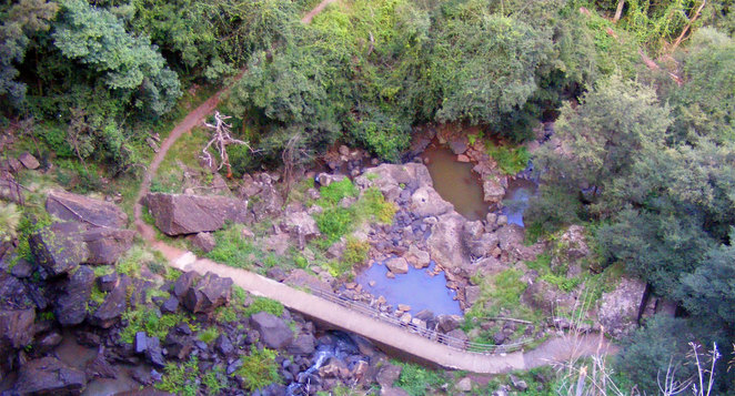 The track at the lower part of the falls as seen from the viewing platform