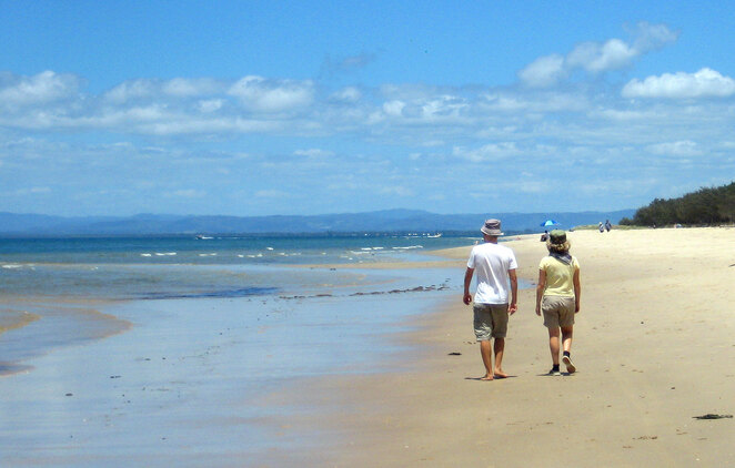 Walking on Red Beach on Bribie Island