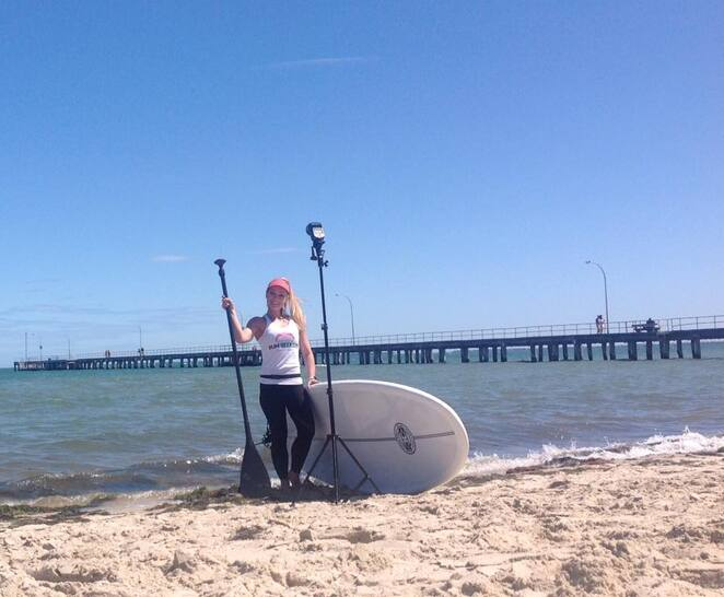 sunseekers,SUP,stand,up,paddleboard,beach,girl,paddle,melbourne,altona