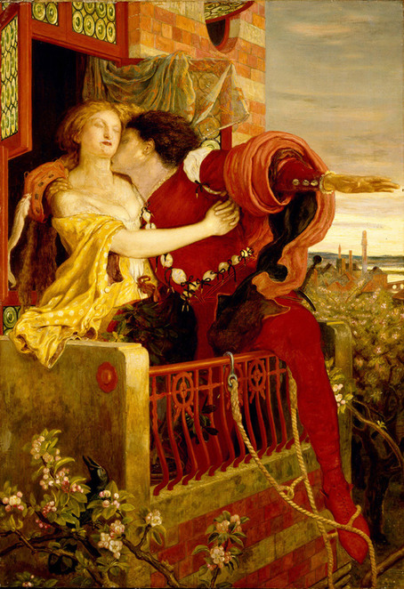 Romeo & Juliet The Balcony by Ford Madox Brown 1870 image courtesy Wikipedia