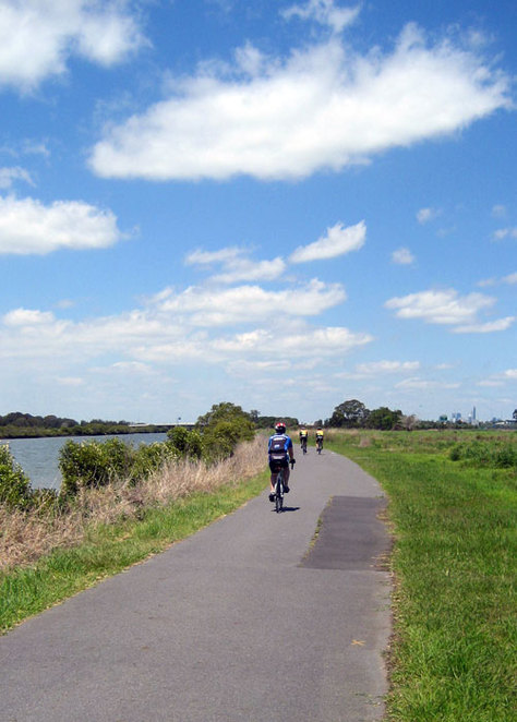 Cyclists ride beside the estuary
