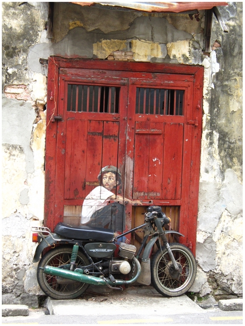 Ah Quee Street, Penang Street Art, Mural, Ernest Zacharevic, Boy on a bike,