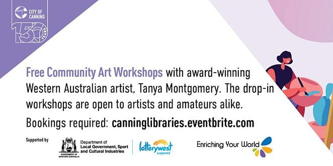 art on the weekends, covid freedom project, community event, fun things to do, riverton library, free community art workshops, west australian artist, tanya montgomery, drop in workshops, artists, try something new, meet new people, speed drawing done slowly, scraggly bush wonder