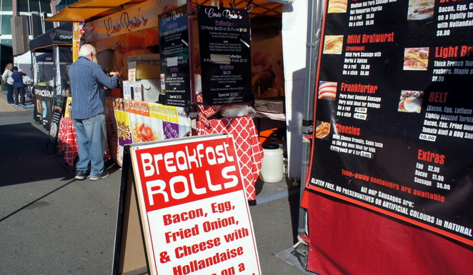 Food trucks and stalls are great for breakfast through to brunch