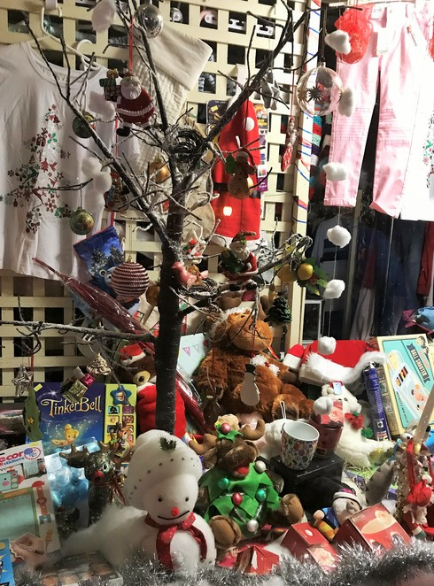 christmas, windows, display, festive season, healesville, yarra valley, shopping, lights, op shop, salvation army