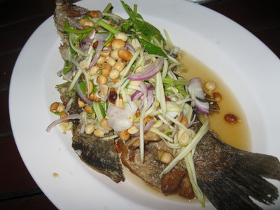 Deep fried fish, spicy salad, tubtim resort, koh samet, thailand