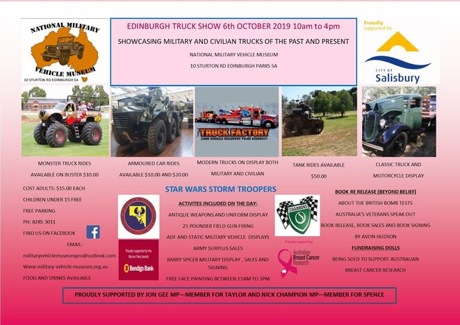 edinburgh truck show 2019, community event, fun things to do, national military vehicle museum, military exhibition, antique qeapons, uniform displays, field gun firing, static military vehicle displays, army surplus sales, military vehicle rides, monster truck rides, ww2 military vehicle rides, face painting, activities, entertainment