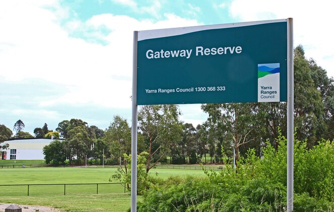 Gateway Reserve with oval at rear.