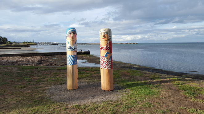 Two Bathing Beauty Bollards at Rippleside, Geelong