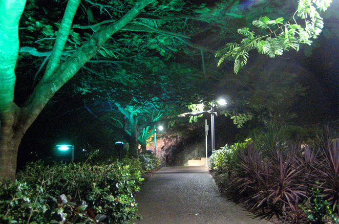 The paths in the Roma Street Parklands are well lit at night