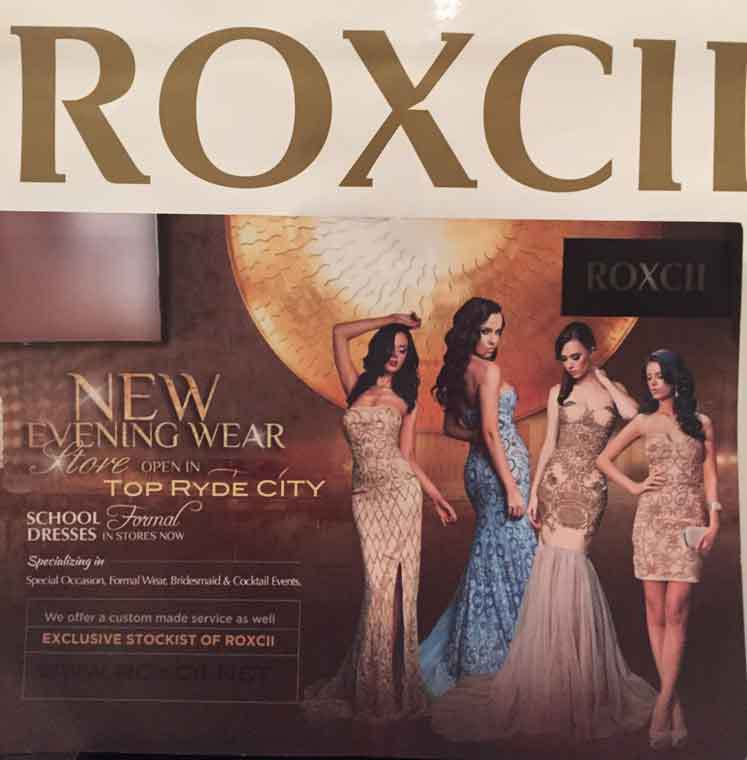 Roxcii Evening Wear Top Ryde City Sydney