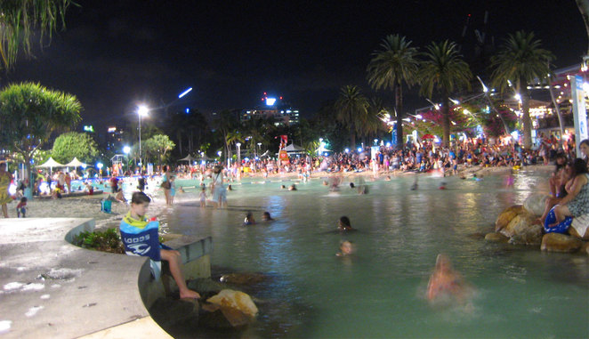 South Bank's Streets Beach at night