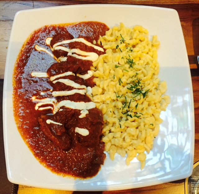 Veal goulash and buttered spatzle.