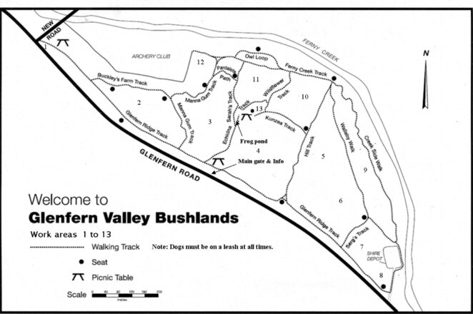 Glenfern Valley Bushland map.