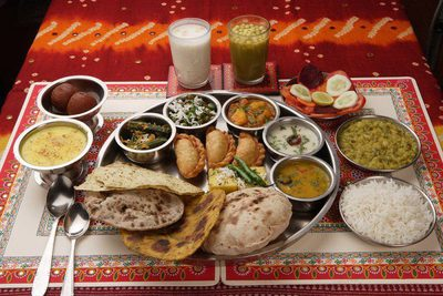 A typically sumptuous Hare Krishna Sunday Feast. Image is from the Hare Krishna Movement webpage.