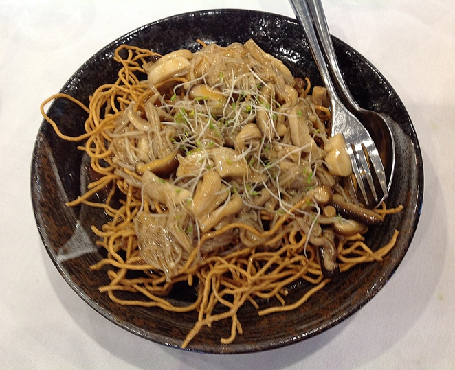 Holy Duck, Crispy Egg Noodles with Mushrooms