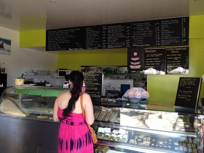 Inside Sorrento's - as you can see there is plenty to choose from on the menu board