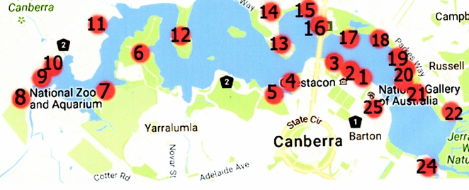 lake burley griffin, canberra, ACT, things to do, tourism, google maps,