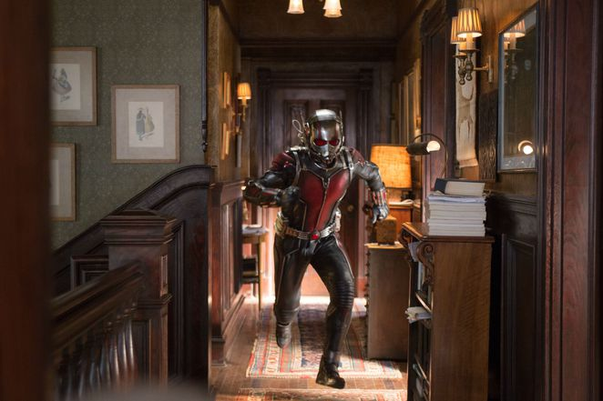 Scott Lang played by Paul Rudd testing out the Ant-Man suit